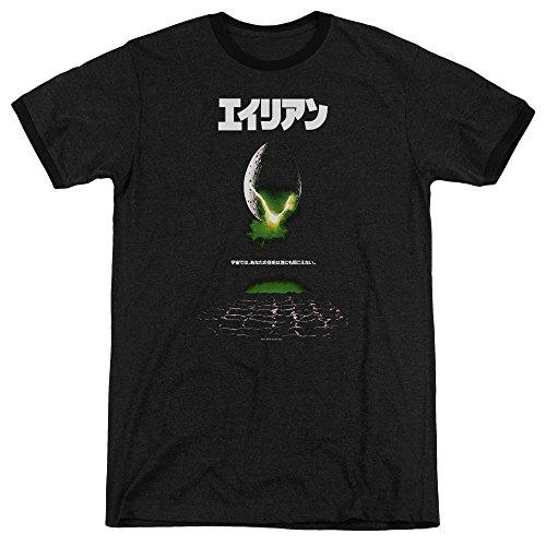 shirt Black À Col Rond T Avec Hommes Aliens Kanji Pour Affiche TxvZ5wR