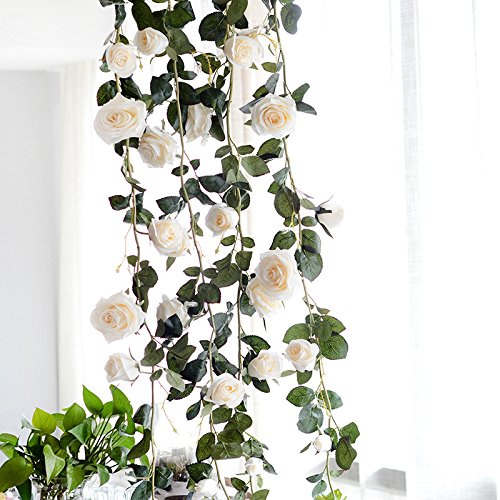 U'Artlines 3 Pcs 5.9 Ft Artificial Silk Rose Garland Vine 10 Head Fake Hanging Flowers Ivy for Hotel Wedding Home Wall Party Garden Craft Art Decor (10 Head Cream White)