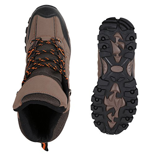 Stiefelparadies Warm Gefütterte Herren Worker Boots Outdoor Schuhe Profilsohle Flandell Braun