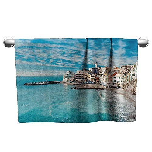 - xixiBO Beach Towel W39 x L10 Italy,Panorama of Old Italian Fishing Village Beach in Old Province Coastal Charm Image,Turquoise Water Absorption Multi-Purpose