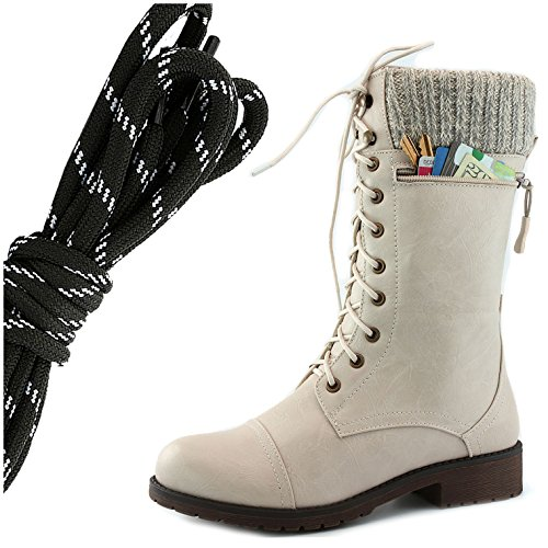 DailyShoes Womens Combat Style Lace up Ankle Bootie Round Toe Military Knit Credit Card Knife Money Wallet Pocket Boots, Black White Ivory White Pu
