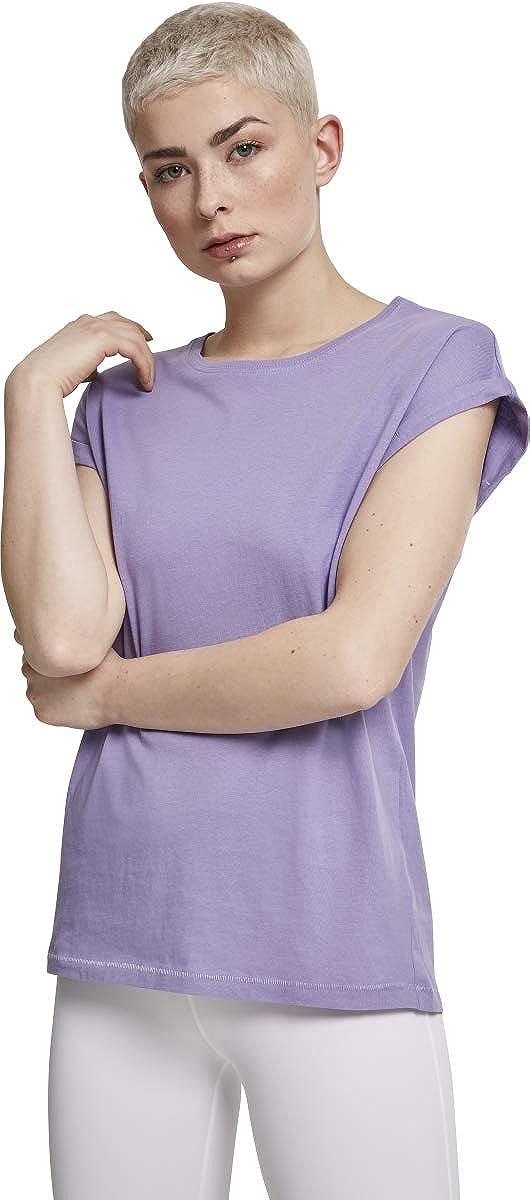 Urban Classics Damen T-Shirt Extended Shoulder Basic Tee mit Turnup-/Ärmeln