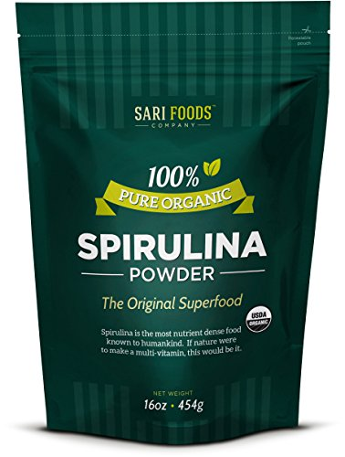 Organic Spirulina Powder (16oz) 100% Natural Source of Protein Calcium Vitamin B12 Iron Magnesium Selenium Chlorophyll and Other Plant Nutrients  Natures Daily Whole Food Multivitamin