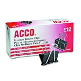 ACCO Binder Clips, Medium, 12/Box (72050)