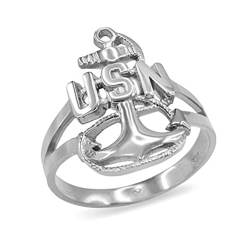 (American Heroes US Navy Fouled Anchor Ring in Fine 925 Sterling Silver (Size 9) )