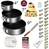 """Cake Pan Set for beginner - Springform Pan Set - 3 Round Baking Pans (4""""/7""""/9"""") Inch - Non-stick & Leakproof Bakeware Mold - Cheesecake Pan with Removable Bottom- Free Cake decoration supplies & Ebook"""