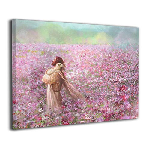 JAWANNA Jesus The Good Shepherd Tenderly Embracing A Lamb Oil Canvas Paintings Modern Artwork Home Decor Classical Bathroom Decor Ready to Hang (Inner Framed)