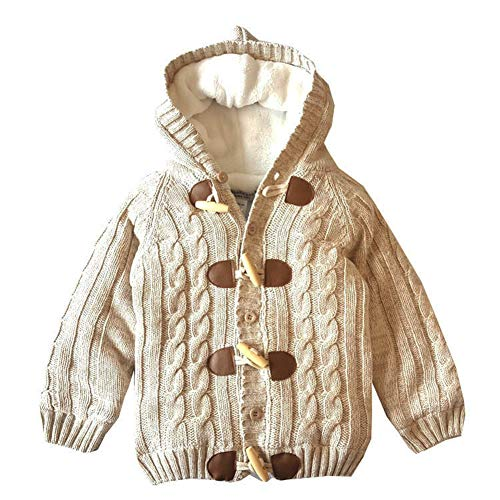 JGJSTAR Baby Sweater Cardigan 100% Cotton Toddler Boys Girls Long Sleeve Cable Knit Jacket (2T-3T Tag -