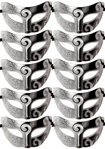 10pcs Set Mardi Gras Half Masquerades Venetian Masks Costumes Party Accessory (2-silver&black) (Venetian Mask Costume)