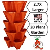 LARGE Vertical Gardening Stackable Planters by Mr. Stacky - Grow More Using Limited Space And Minimum Effort - Plant. Stack. Enjoy. - Build Your Own Backyard Vertical Garden - DIY Stacking Container System - For Growing Strawberry, Tomato, Pepper, Cucumber, Herbs, Lettuce, Greens, & Much More - Indoor or Outdoor - Stackable Pots (5)