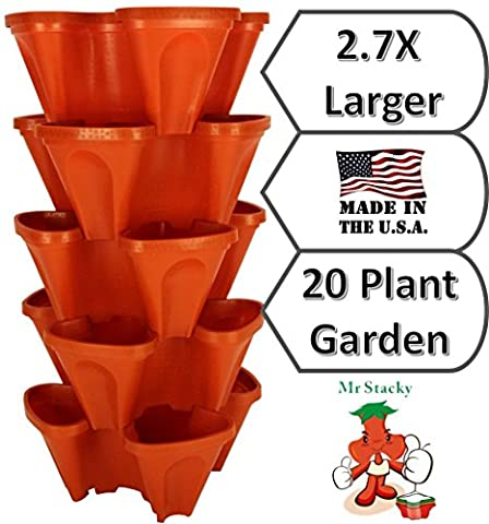 LARGE Vertical Gardening Stackable Planters by Mr. Stacky - Grow More Using Limited Space And Minimum Effort - Plant. Stack. Enjoy. - Build Your Own Backyard Vertical Garden - DIY Stacking Container System - For Growing Strawberry, Tomato, Pepper, Cucumber, Herbs, Lettuce, Greens, & Much More - Indoor or Outdoor - Stackable Pots - Pepper Tower