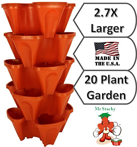 LARGE Vertical Gardening Stackable Planters by Mr Stacky  Grow More Using Limited Space And Minimum Effort  Plant Stack Enjoy  Build Your Own Backyard Vertical Garden  DIY Stacking Container System  For Growing Strawberry Tomato Pepper Cucumber Herbs Lettuce Greens amp Much More  Indoor or Outdoor  Stackable Pots 5