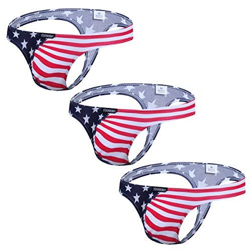 Men's G-String Thong Bikini Briefs Underwear 3 Pack Briefs USA American Flag