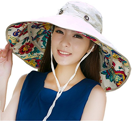 iHomey Packable Extra Large Brim Floppy Sun Hat Reversible UPF 50+ Beach Sun Bucket - Large Bucket Brim