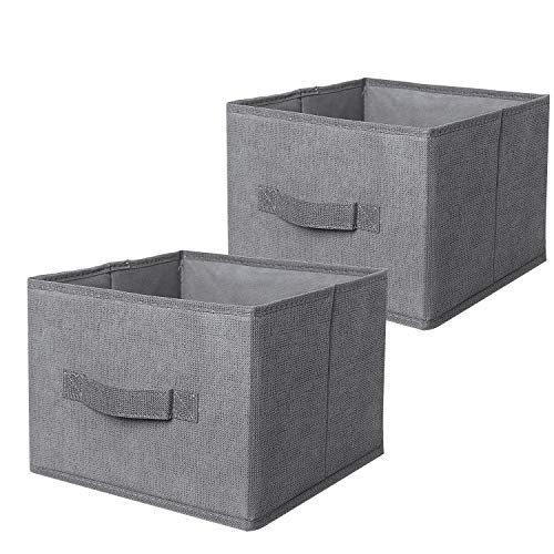 Aoolife Foldable Fabric Closet Drawer Organizer,Cube Storage Bins with Handle,Storage Cubes Basket Units in to Storage Clothing, T Shirts, Leggings,Underwear, Bras, Socks and More- Set of 2 ()