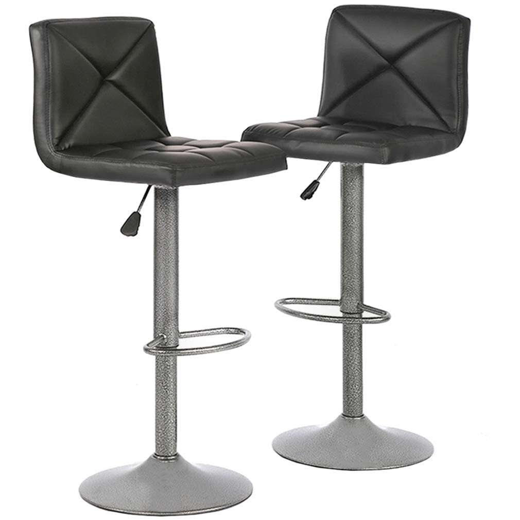 Bar Stools Barstools Bar Chairs Height Adjustable Modern Swivel Stool With Back Counter Stools PU Leather Dinning Chairs Set of 2 by BestOffice
