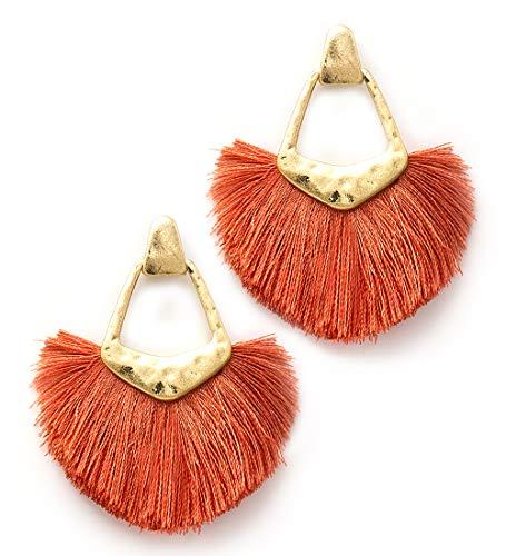 Coral Drop Earrings - MIRMARU Fine Thread Dangling Fan Shape Fringe Tassel Drop Earrings- Half Circle Tassel Drop Dangle Earrings for Women (Coral)