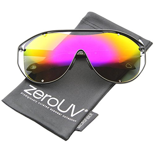 zeroUV - Modern Fashion Metal Frame Inner Rimless Mirror Lens Shield Sunglasses (Black / Yellow-Magenta - Shield Sunglasses Rimless