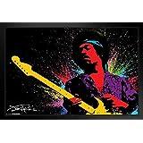 Pyramid America Jimi Hendrix Paint Splatter Music Framed Poster 12x18 inch
