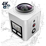 Zision 360°Panoramic VR Full View Action Camera Sport Mini Phone Remote Control Camera,4K WIFI MINI DV 220°Len 98ft Waterproof Shockproof Dustproof Camera Outdoor Travel DV 18 Aaccessory-elegantWhite