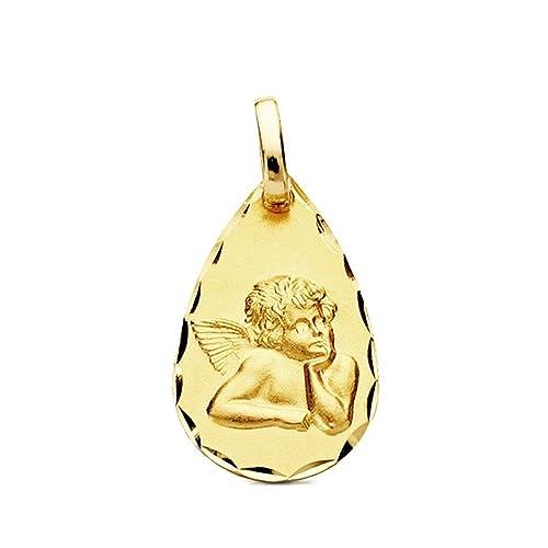 3c0d7c24b Colgante oro 9k lágrima angelito 19mm.  AB3255GR  - Personalizable -  GRABACIÓN INCLUIDA EN EL PRECIO  Amazon.es  Joyería