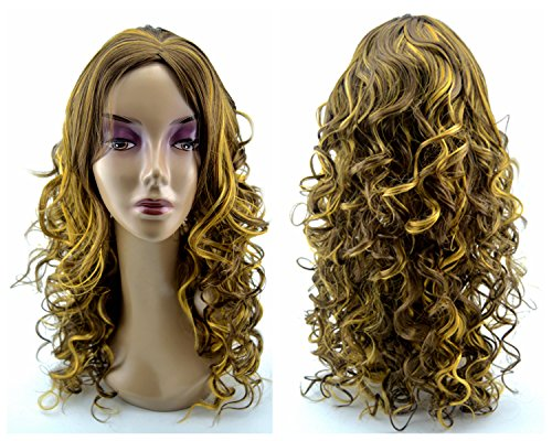 Leyee Charming Brown Highlight Long Deep Fluffy Wavy Hair Kanekalon Fiber Synthetic Full Wigs for Women (Deluxe Brown Dreadlock Wig)
