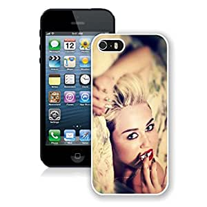 New Unique Designed Cover Case For iPhone 5S With Miley Cyrus iPhone 5s White Phone Case 290