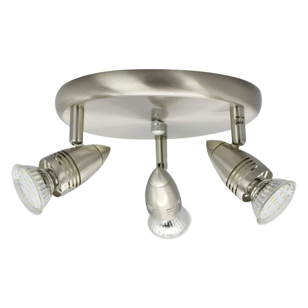 4 Way Round LED Ceiling Spot Lights for Kitchen, Chrome Rotatable SpotLight for Bathroom Bedroom Living Room Eye-Care Warm White Modern Lighting 4*3W GU10 Bulbs [Energy Class A++] W-Lite