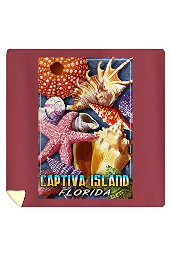 Lantern Press Captiva Island, Florida - Shell Montage 46693 (88x88 Queen Microfiber Duvet Cover)