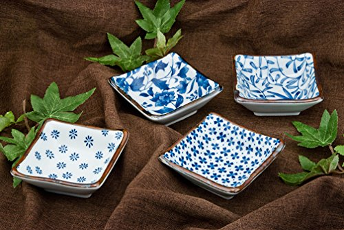 Authentic Japanese Porcelain Square Shape Condiment or Sauce Dish for Appetizer Dessert Salad Snack Candy Fruit Multi Purpose Platter Dishes 3.5 Inch Square Assorted Designs 4 Piece Pack Made in Japan by Hinomaru Collection