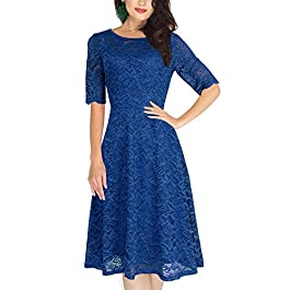 Lanisen Womens Lace Half Sleeve Crewneck Flare Swing A Line Evening Midi Dress