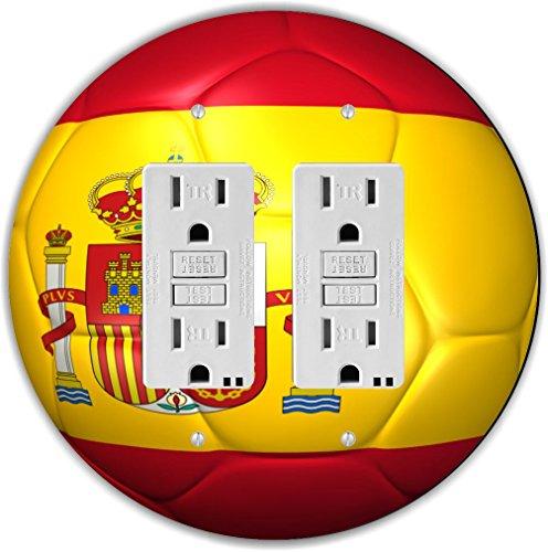 Rikki Knight RND-GFIDOUBLE-67 Spain Team World Cup Flag Soccer Ball Football Round Double GFI Light Switch Plate by Rikki Knight