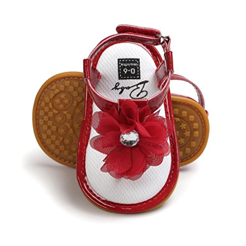 139c3c87db315 Voberry Baby Infant Girls Flower Pearl Princess Sandals Soft Sole First  Walker Crib Shoes (0~6 Month, Red)