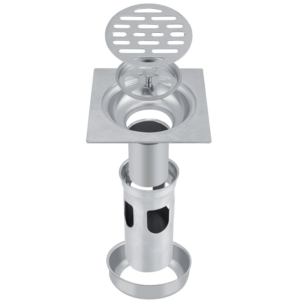 304 Stainless Steel 4 Inch Square Anti-odor Shower Floor Drain with Removable Strainer Zerodis