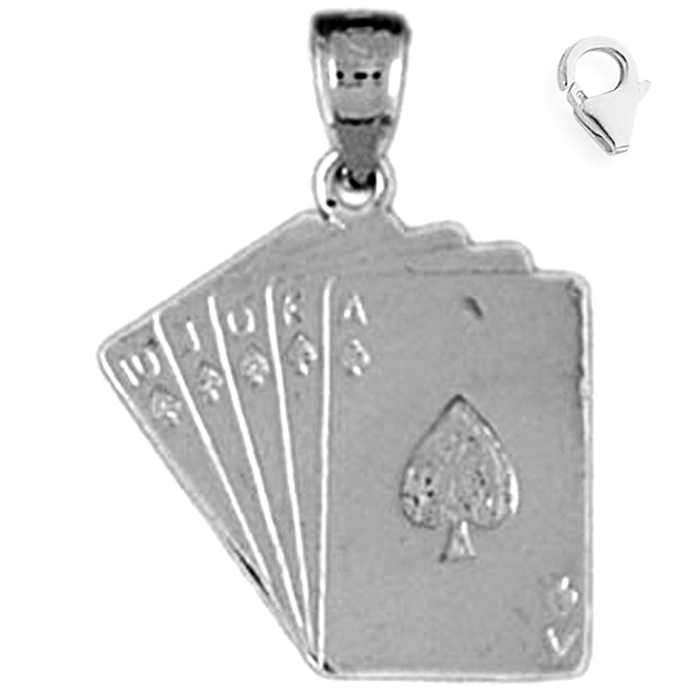 JewelsObsession Sterling Silver 22mm Playing Cards Flush Charm w//Lobster Clasp
