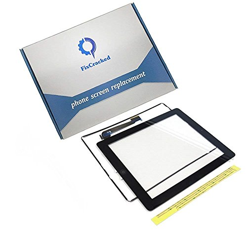 iPad 3 Screen replacement,iPad 3 Front Touch Digitizer Assembly Replacement include Home Button +Camera Holder + Adhesive pre-installed+Middle Frame Bezel(Black)