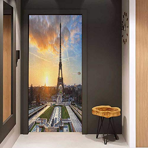 Onefzc Pantry Sticker for Door Eiffel Tower Sunrise in Paris with The Eiffel Tower Holidays Getaways Scenic Print Sticker Removable Door Decal W36 x H79 Blue Yellow Coconut