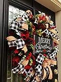 TGone Christmas Buffalo Check Wreath Holiday Decor