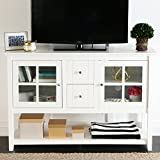 Walker Edison Furniture Wood Console Table TV Stand, 52-Inch, White