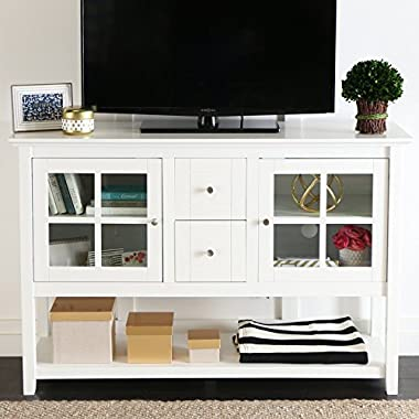 WE Furniture 52  Console Table Wood TV Stand Console, White