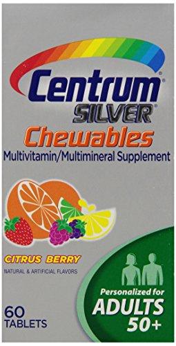 Центр Серебряный Мультивитамин / Мультиминерал Дополнение жевательные таблетки для взрослых 50+, цитрусовые Берри, 60 граф бутылки (3 шт)