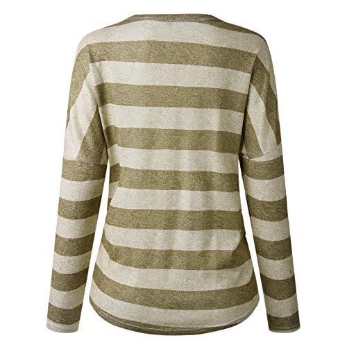 Top Femmes Chemisier Kaki Shirt Longue V 87 Plaid Manche Shinekoo col 3 Vrac 4 en Rayures A48xqd