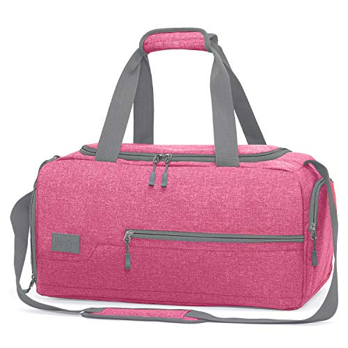 MarsBro Water Resistant Sports Gym Travel Weekender Duffel Bag with Shoe Compartment Pink