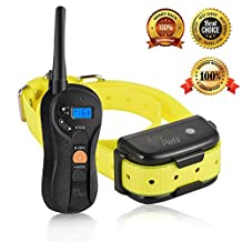AsyPets Waterproof & Rechargeable Dog Training Collar for 15-100lb, 650yd Remote Controlled Dog Shock Collar Electric Collar with Separate Silicone Buttons - Beep, Vibration, Shock Dog Training Mode