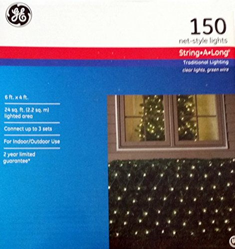 Wire 150 Light Net - GE 150 Light Net-Style Holiday Light - Clear Lights, Green Wire - String-a-Long - Traditional lighting