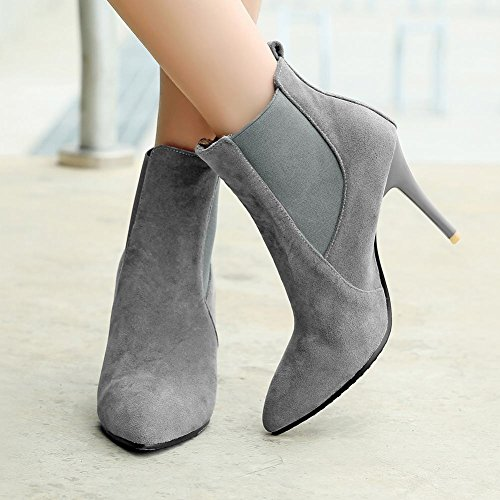 Mee Shoes Elegant Stiletto Nubuck Ankle-high Boots Grey WFLQU