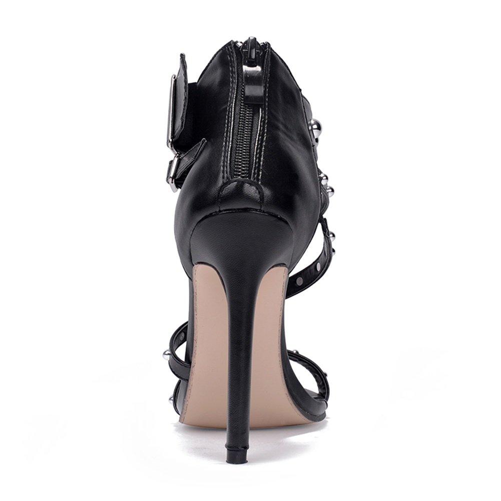 SASA SASA SASA Frauen High Heel Sandaletten Sommer New Shallow Niet Schnalle High Heel Sandaletten Solid Farbe Roman Cool Damenschuhe, EU39/UK6 - 451390