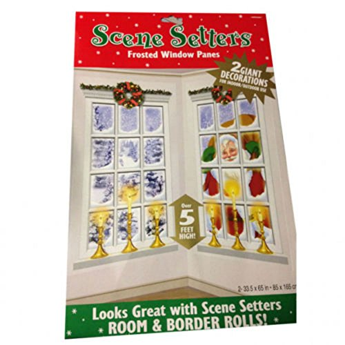 Christmas Party Frosted Window Decoration Scene Setters x 2 New
