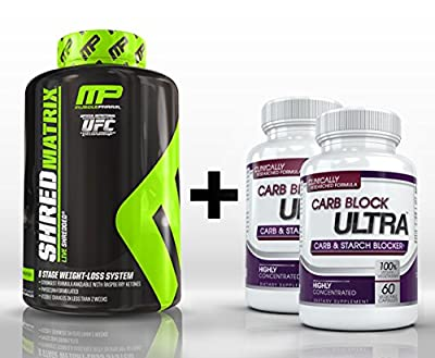 Shred Matrix (120 Capsules) & Carb Block Ultra (2 Bottles) - Professional Strength Fat Burning, Weight Loss Package. Double Your Results!