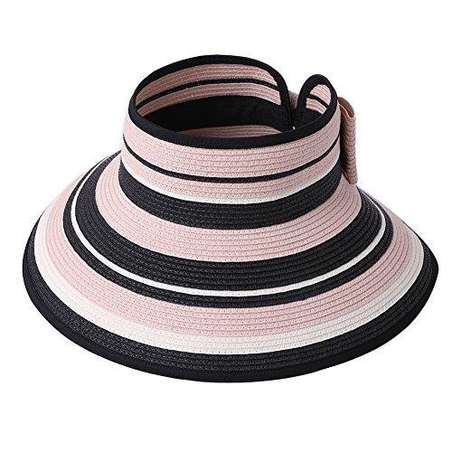 Straw Sun Visor Women Foldable Floppy Wide Brim Travel Hat Gardener Beach Hats Pink by Fancet (Image #1)